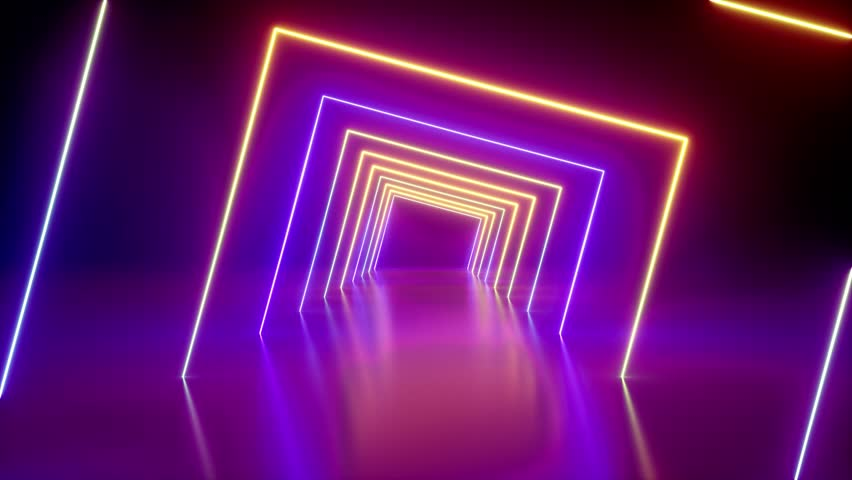 Spinning around neon tunnel, violet pink light, moving fashion podium, abstract background, rotating frames, virtual reality, glowing lines, seamless animation | Shutterstock HD Video #1027183814