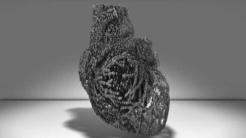 Human heart cog gear wheels spinning cardio machinery conceptual 3D render