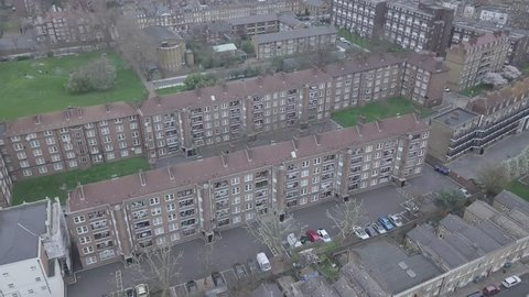 London Aerial Residential Pan Up and Reveal Drone Industrial Tower Block