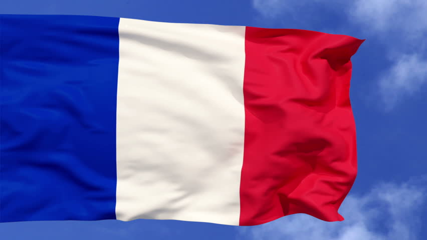 France Flag.French flag day. France flag waving in the clear blue sky.  France independence day. alpha matte, luma matte. 3d animation  | Shutterstock HD Video #1027337084