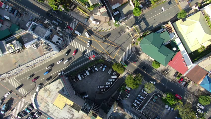 Drone shot of traffic at an intersection in Manila.   Shutterstock HD Video #1027351244