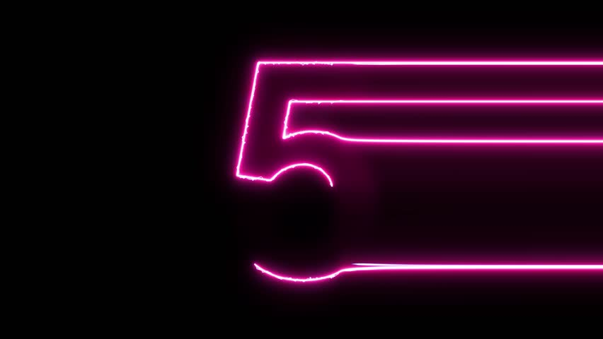 Number 5 reveal neon electric glowing motion wipes to center. 4K 60 fps video render footage