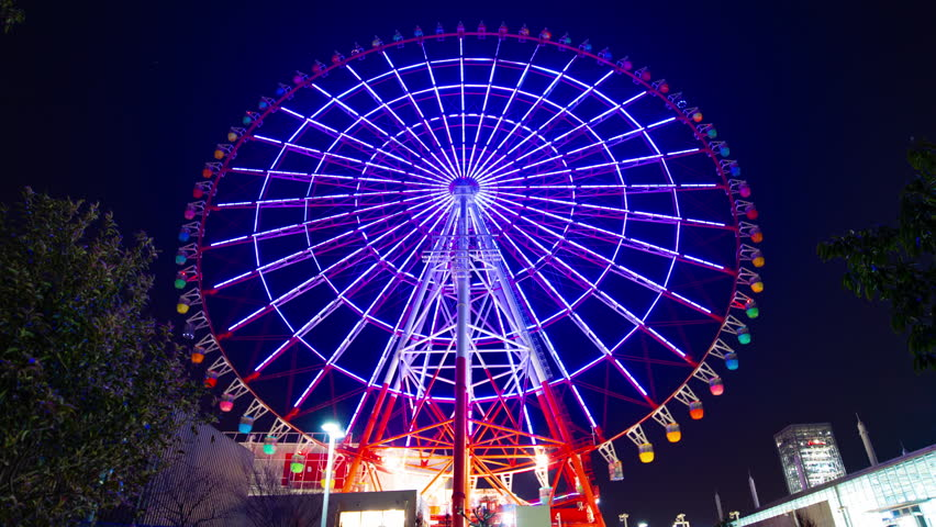 Time lapse ferris wheel at the amusement park at night. Koutou-ku Odaiba Tokyo Japan - 01.08.2019 : It s a ferris wheel at night. camera : Canon EOS 5D mark4   Shutterstock HD Video #1027413974
