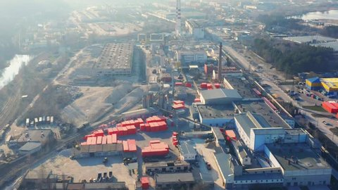 Aerial look-down view of the gas concrete factory (plant) with outside storage (storage yard)