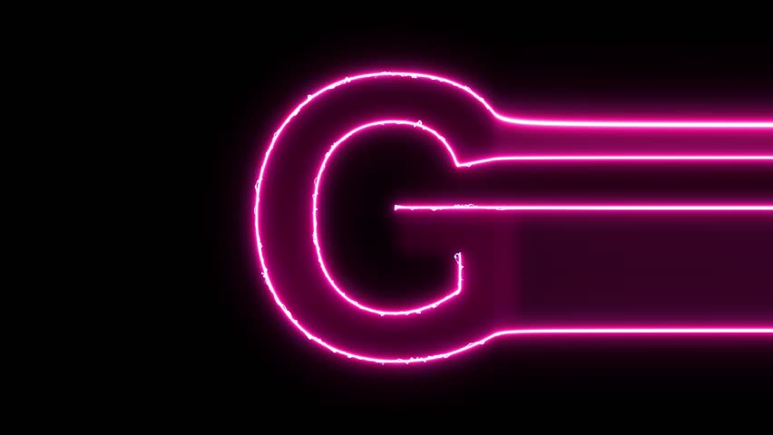 Letter G reveal neon electric glowing motion wipes to center. 4K 60 fps video render footage