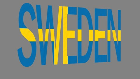 "The animated letters of the word ""Sweden"" in national colors are fluttering like a flag in the wind. This clip has an additional alpha matte that allows to get the background transparent."