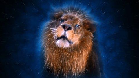 Lion Roaring animation 4K