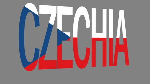 """The animated letters of the word """"Czechia"""" in national colors are fluttering like a flag in the wind. This clip has an additional alpha matte that allows to get the background transparent."""