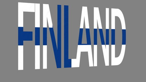 "The animated letters of the word ""Finland"" in national colors are fluttering like a flag in the wind. This clip has an additional alpha matte that allows to get the background transparent."
