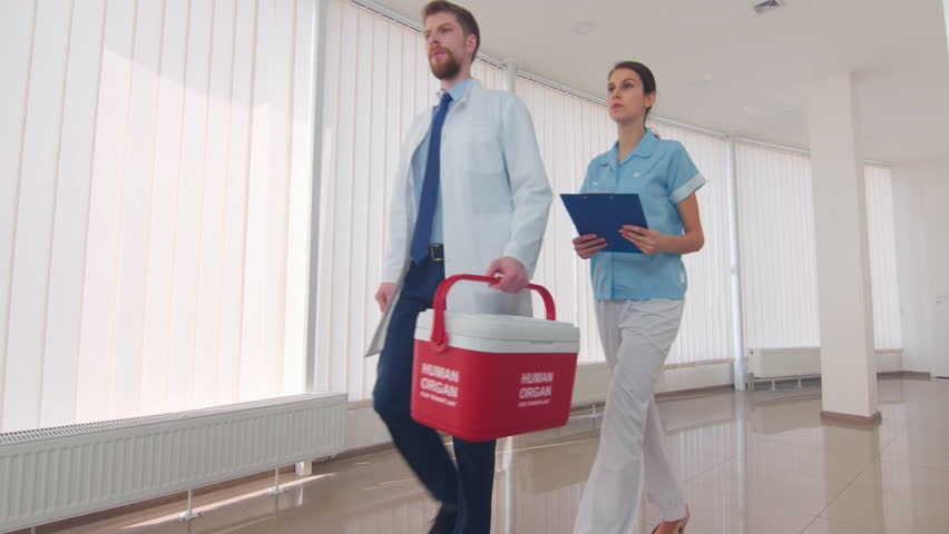 Medical courier with an assistant go down the clinic hall with red human organ trafficking container | Human organ transplantation concept | Shutterstock HD Video #1027607984