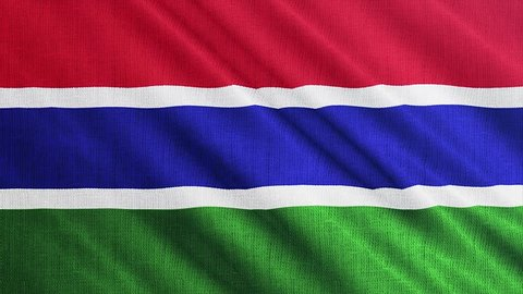 Gambia flag is waving 3D illustration. Symbol of Gambian national on fabric cloth 3D rendering in full perspective.