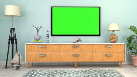 video animation - Interior of a Scandinavian living room with sideboard and flatscreen TV and maritime decoration - green screen
