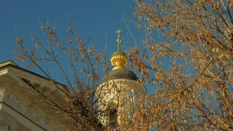 "Belfry of Church of the Mother Of God ""Joy of All who sorrow"" (Saviour of Transfiguration) on Bolshaya Ordynka street, Moscow. Russian Orthodox church of the XVI century. Zoom in  shot."