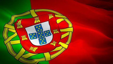 Portugal waving flag. National 3d Portuguese flag waving. Sign of Portugal seamless loop animation. Portuguese flag HD resolution Background. Portugal flag Closeup 1080p Full HD video for presentation