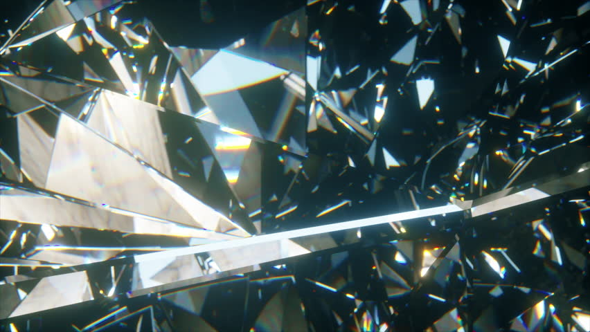 Beautiful slowly rotating diamond. Seamless loop 4k cg 3d animation, nice looping abstract background.