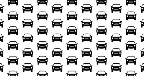 Car icons background clip motion backdrop video seamless repeating loop.  Black and white auto transportation automobile & vehicle themed pattern background CGI high definition motion video clip