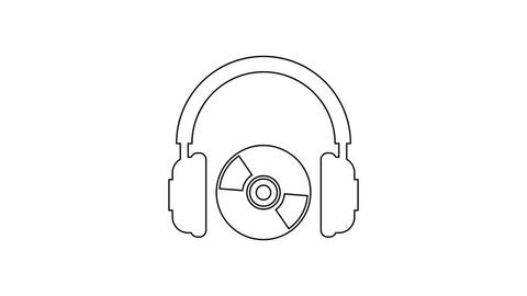 Grey Headphones and CD or DVD line icon on white background. Earphone sign. Compact disk symbol. 4K Video motion graphic animation