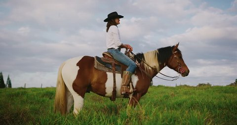 Cowgirl sitting on horse in green fields at sunset, slow motion orbit shot of horseback rider
