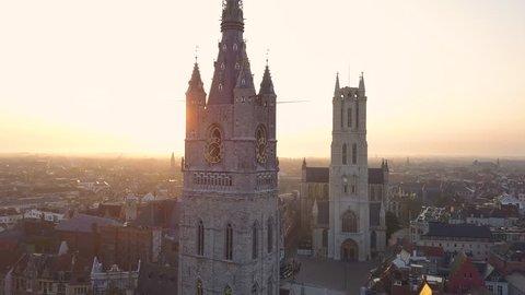 Aerial Parallax shot of Old Bell Tower. Aerial shot Het Belfort Van Gent, Ghent, Belgium