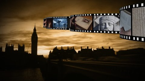 Digital composite of silhouette of town or city while film strips moves on top with different photographs and videos about religion