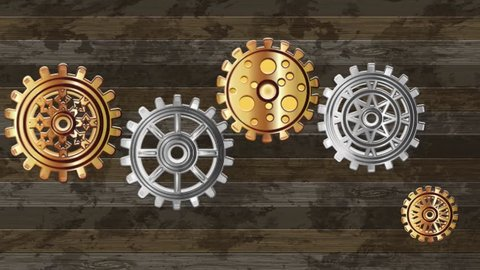 Vintage background animated gears with flowers chamomile in steampunk style.