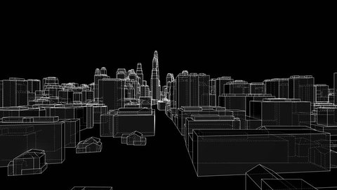 City Walk blueprint style. The layers of visible and invisible lines are separated. 3d illustration video