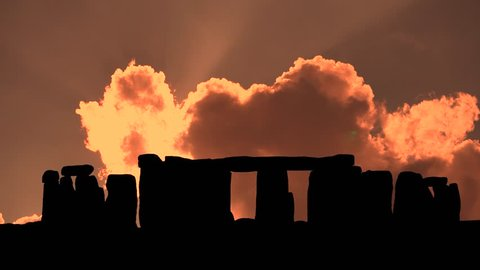Stonehenge in Wiltshire, England, Sunset, Clouds Timelapse