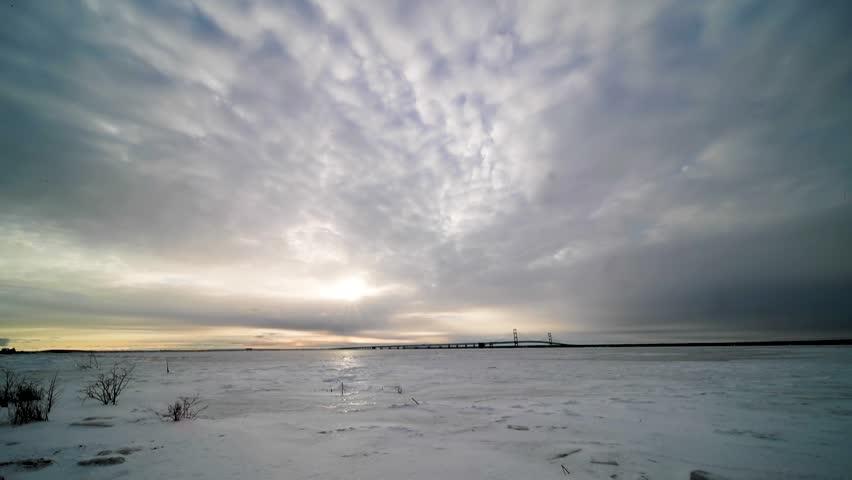 Morning time-lapse of the Mackinac Bridge in Michigan