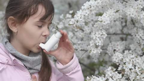 Asthma attack. Pollen allergy. A child with an asthma attack.