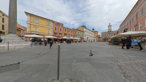 "Ravenna, Italy-04 12 19: Time Lapse of ""Piazza del Popolo"" in Ravenna, Italy"