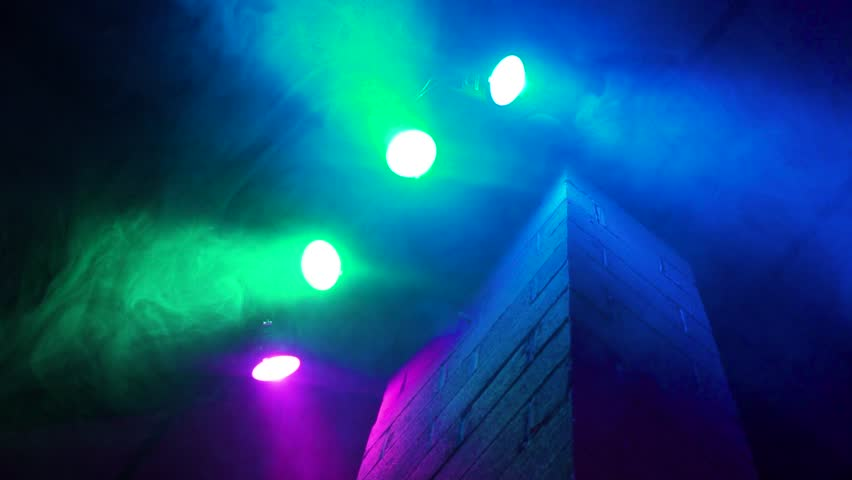 COLOUR CHANGING LIGHTS BRICK WALL CLUB EVENT rave SLOWMOTION