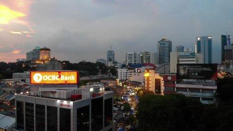 Johor Bahru, Malaysia - April 18 2019 : Johor Bahru City is located at southern part of Malaysia, night ariel view