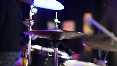 Playing Drums Close Up. Drum Set