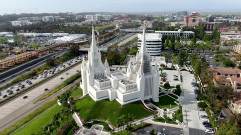 Aerial view of the San Diego California Temple. Temple of The Church of Jesus Christ of Latter-day Saints.  Mormon Temple (LDS church) in San Diego, California. USA.