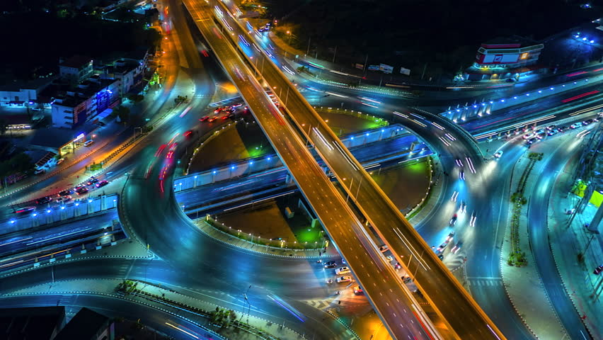 4K,Time lapse night  traffic of the expressway, motorway and highway in the detail of Circle intersection  #1028005874