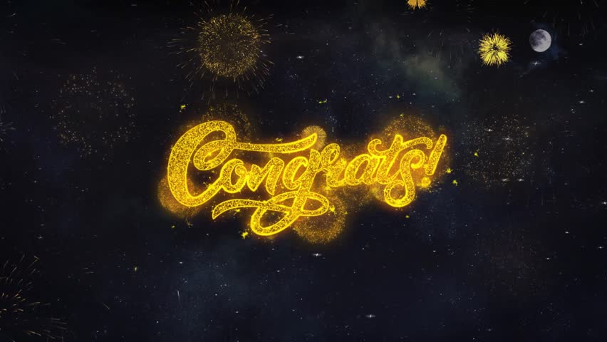 Congrats 2 Text Typography Reveal From Golden Firework Crackers Particles Night Sky 4k Background. Greeting card, Celebration, Party, Invitation, Gift, Event, Message, Holiday, Wish Festival  | Shutterstock HD Video #1028090264