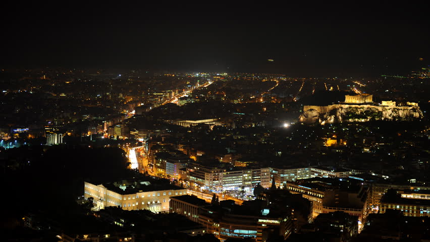 Time Lapse Aerial View of Athens City Buildings Cars Traffic Jam Rush Hour Night | Shutterstock HD Video #1028115404