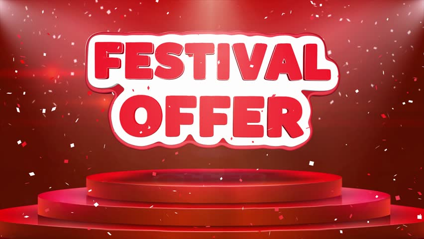 Festival Offer Text Animation on 3d Stage Podium Carpet. Reval Red Curtain With Abstract Foil Confetti Blast, Spotlight, Glitter Sparkles, Loop 4k Animation.   Shutterstock HD Video #1028118944