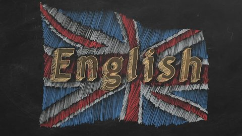Hand drawing and animated british flag with text ENGLISH on blackboard. Stop motion animation.
