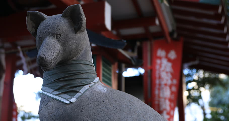 Statue guardian dog at the traditional shrine. Shinjuku district Tokyo Japan - 01.21.2019 : It is an old statue at the traditional shrine. camera : Canon EOS 5D mark4 | Shutterstock HD Video #1028153234