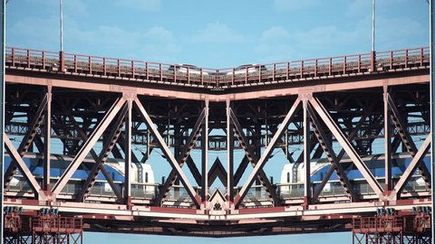 Mirror Effect Bridge Train And Cars. Train crossing suspension bridge with traffic of cars in a mirror effect style