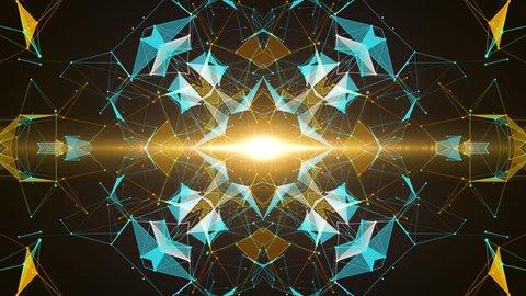 VJ Fractal gold kaleidoscopic background. Background gold motion with fractal design on black background. Disco spectrum lights concert spot bulb. Light Tunnel. Seamless loop. 4k