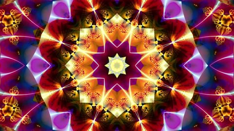 Red kaleidoscope sequence patterns. Abstract multicolored motion graphics background. Or for yoga, clubs, shows, mandala, fractal animation. Beautiful bright ornament. Seamless loop.