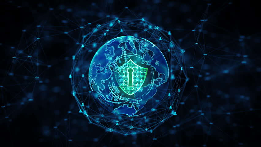 Shield Icon on Secure Global Network, Cyber security and information network protection, Future technology network for business and internet marketing concept. Earth element by Nasa | Shutterstock HD Video #1028215694