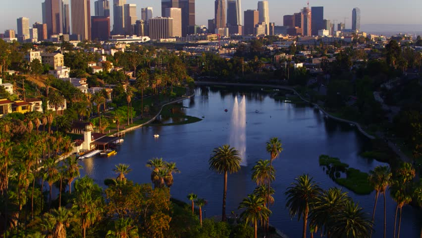 Los Angeles, CA / USA - July 3, 2016: Echo Park Fountains with View of Downtown Los Angeles Skyline by Aerial Drone | Shutterstock HD Video #1028248394