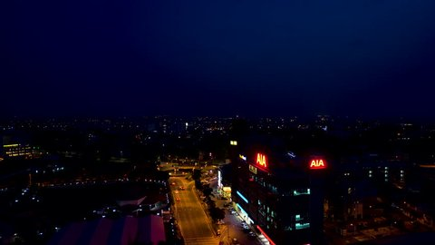 IPOH,MALAYSIA-24.4.2019 - Aerial Footage Of Ipoh CIty At Night.Ipoh Is One Of Malaysia Main City That Listed On Lonely Planet.