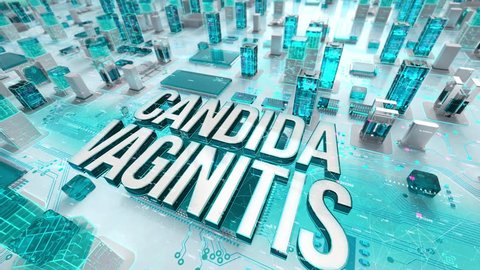Candida Vaginitis with medical digital technology concept
