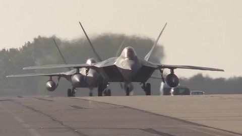 United States - April 2, 2019: F-35 Jets on runway preparing to stop