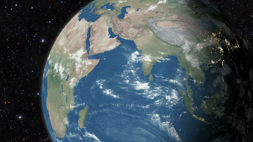 Planet earth from space. Realistic world globe spinning slowly animation. Camera over Indian Ocean and Africa.