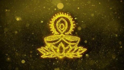 Deepak Diya Lamp Symbol Element Sign Greetings card Abstract Blinking Golden Sparkles Glitter Firework Particle Looped Background.